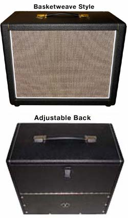 Scumback 1x12 Cabs in EC Collins Cloth and 1x12 Cabinets with Basketweave Cloth & Adjustable Back View